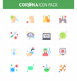 16 flat color coronavirus epidemic icon pack suck vector image vector image