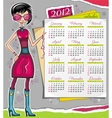 2012 calendar with fashion girl vector image