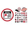 2016 Holiday Calendar Flat Icon with Bonus vector image vector image