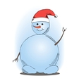 a smiling snowman waving vector image