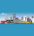 albany new york city skyline with color buildings vector image vector image