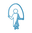 blue line pictogram man jumping rope workout vector image vector image