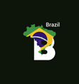 brazil initial letter country with map and flag vector image vector image
