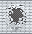 break hole in brick wall destruction template vector image vector image