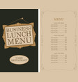 business lunch menu with picture frame and price vector image vector image