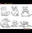 cartoon dogs characters set color book page vector image vector image