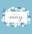 cherry blossom card template with text floral vector image