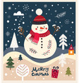 christmas with snowman vector image vector image