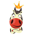 cow with a crown on head on white background vector image vector image