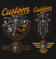 custom motorcycle vintage colorful prints vector image vector image