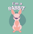 cute cartoon style rabbit with title above on vector image
