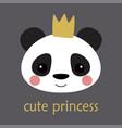 cute panda princess vector image vector image