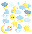 cute weather icons collection with sun moon vector image