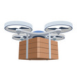drone with a load on a white background aerial vector image vector image