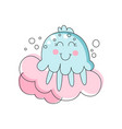 flat line art of adorable blue jellyfish marine vector image vector image