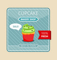 green cupcake with chocolate hearts card vector image vector image