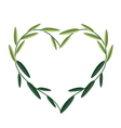 Green Vine Leaves in A Beautiful Heart Shape vector image vector image