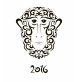 greeting card with monkey - symbol new year vector image vector image