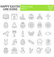 happy easter thin line icon set spring holiday vector image vector image
