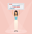 Happy woman holding large check of one million vector image vector image
