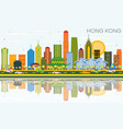 hong kong china city skyline with color buildings vector image vector image