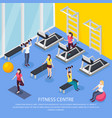 isometric women fitness background vector image vector image