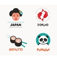 Japanese food and sushi icons menu design vector image vector image