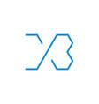letter xb simple thin line geometric design logo vector image vector image