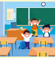 little students boys in the classroom vector image
