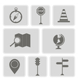 monochrome icons with map and location sign vector image