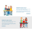 parents and son sitting in front of open laptop vector image vector image