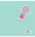 Pencil with light bulb and hearts Dash line heart vector image