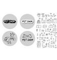 pet shop concept doodle style design vector image vector image