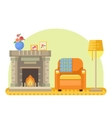 room interior with fireplace armchair and lamp vector image vector image