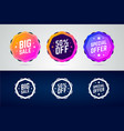 set color gradient badges for sale promotions vector image