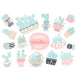 set hand drawn cactuses and succulents vector image vector image