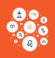set of astrology icons flat style symbols with vector image