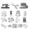 sewing atelier monochrome icons in set collection vector image vector image