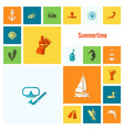 summer and beach simple flat icons vector image