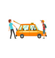 taxi service people catching car young man vector image vector image