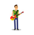 teenage boy playing guitar during concert cartoon vector image vector image
