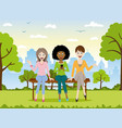 three girls sitting on a bench vector image