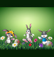 three happy cartoons with decorated easter eggs in vector image vector image