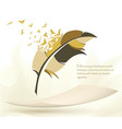 writing pen multicolored feather with flying birds vector image vector image