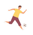 young happy man playing football male soccer vector image vector image