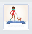 young beautiful woman walking with her do vector image