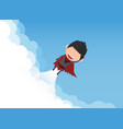 a happy face superhero businessman on sky vector image vector image