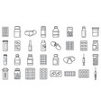 antibiotic drug icons set outline style vector image vector image