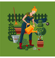 beautiful woman is working in a garden a woman vector image vector image