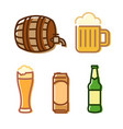 beer icon set isolated on white vector image vector image